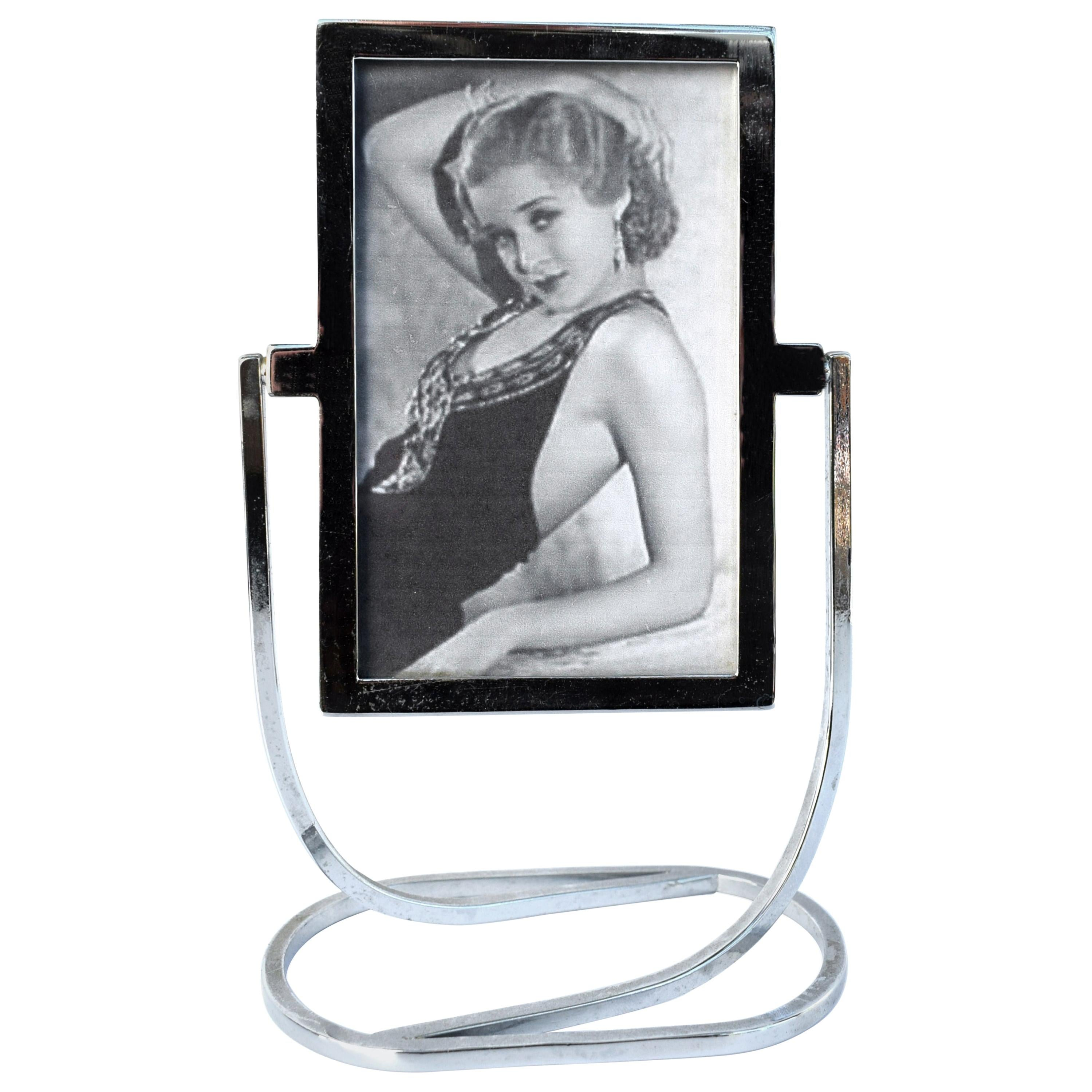 Art Deco 1930s Freestanding Chrome Picture Frame