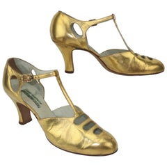 Art Deco 1930's Gold Leather T-Strap Evening Shoes Sz 5 1/2