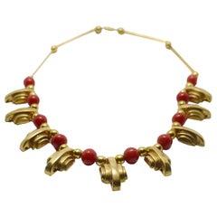 Art Deco 1930s Ladies Gold Tone Streamline Necklace