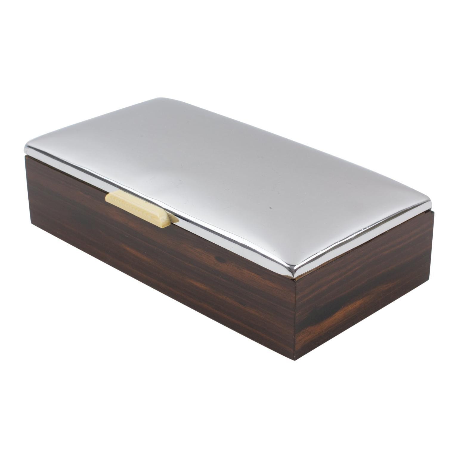Art Deco 1930s Macassar Wood and Chrome Box