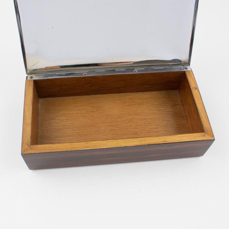 Art Deco 1930s Macassar Wood Chrome Box For Sale 1
