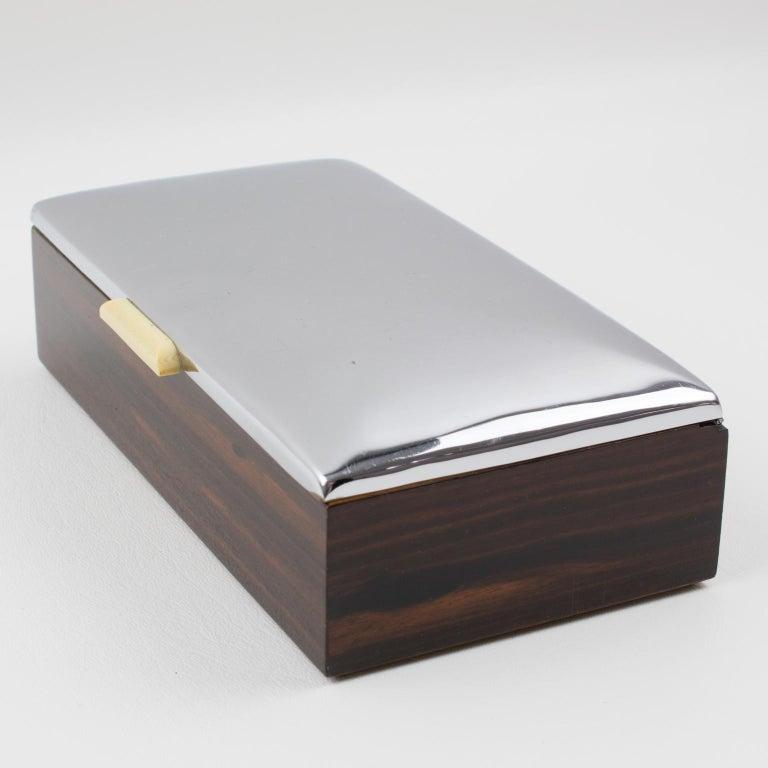 Art Deco 1930s Macassar Wood Chrome Box For Sale 3