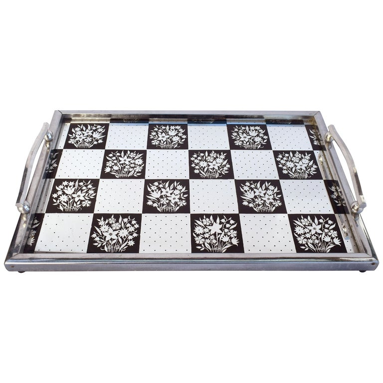 Art Deco 1930s Mirrored Barware Drinks Tray For Sale