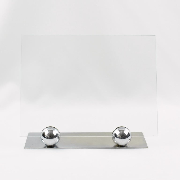Glass Art Deco 1930s Modernist Chrome Picture Photo Frame For Sale