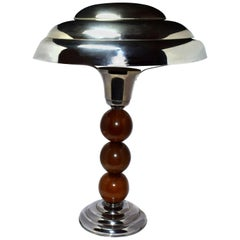 Art Deco 1930s Modernist Table Lamp in Chrome and Wood