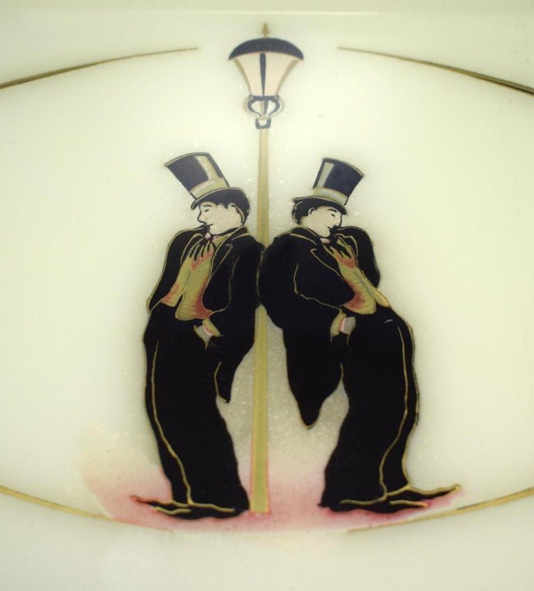 Aluminum Art Deco 1930s Novelty Bar ware Tray Depicting Charlie Chaplin For Sale