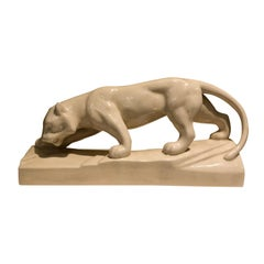 Art Deco 1930s Panther White Ceramic Sculpture