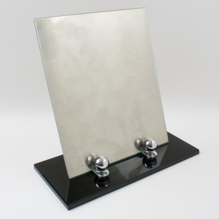 Art Deco 1930s Picture Photo Frame Black Opaline Glass and Chrome For Sale 2