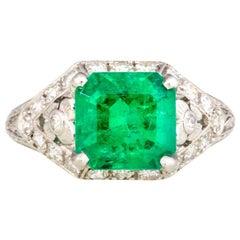 Art Deco 1930s Platinum Diamond and Emerald Ring