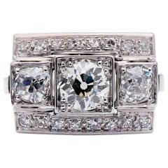 Art Deco, 1930s, Platinum, Large Diamond Plaque Engagement Ring