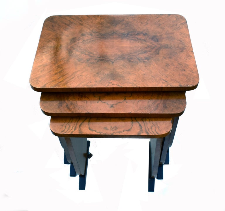 English Art Deco 1930s Set of Three Nest of Tables For Sale