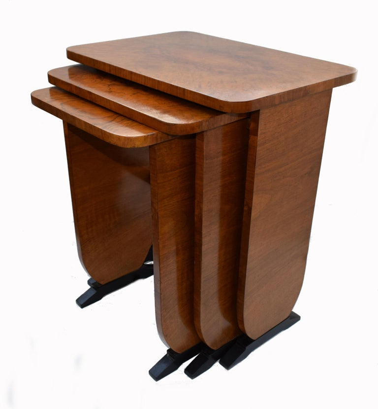 Art Deco 1930s Set of Three Nest of Tables In Good Condition For Sale In Devon, England