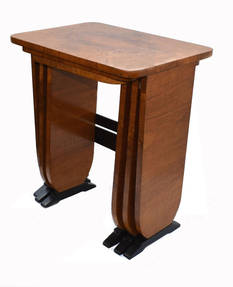 Walnut Art Deco 1930s Set of Three Nest of Tables For Sale