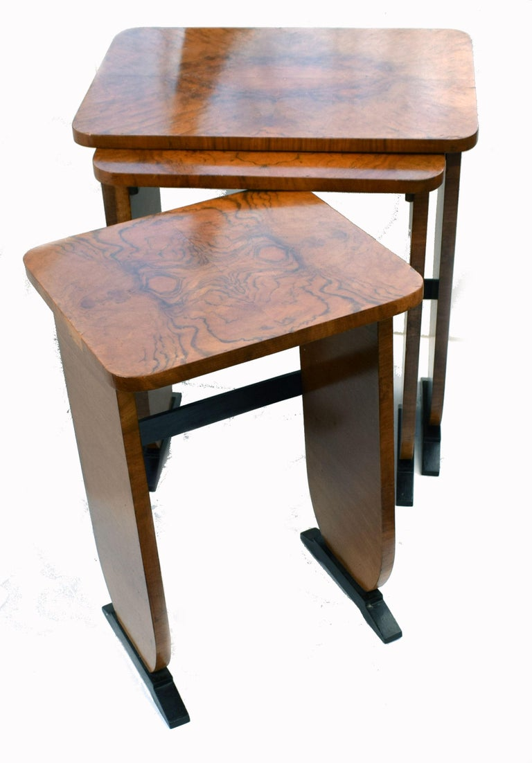Art Deco 1930s Set of Three Nest of Tables For Sale 1