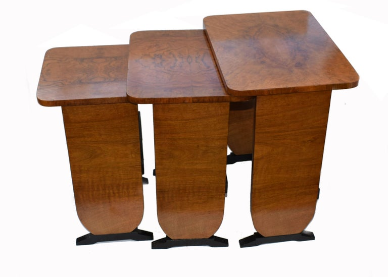 Art Deco 1930s Set of Three Nest of Tables For Sale 3