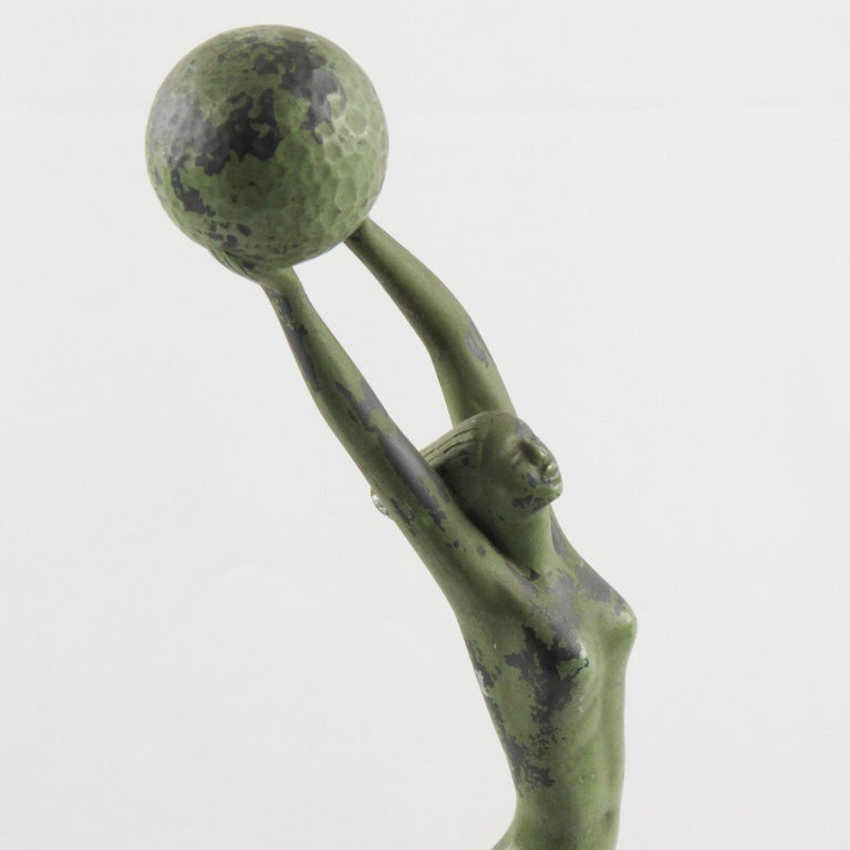 Art Deco Metal Statuette Figurine Sculpture Woman with Golf Ball For Sale 2