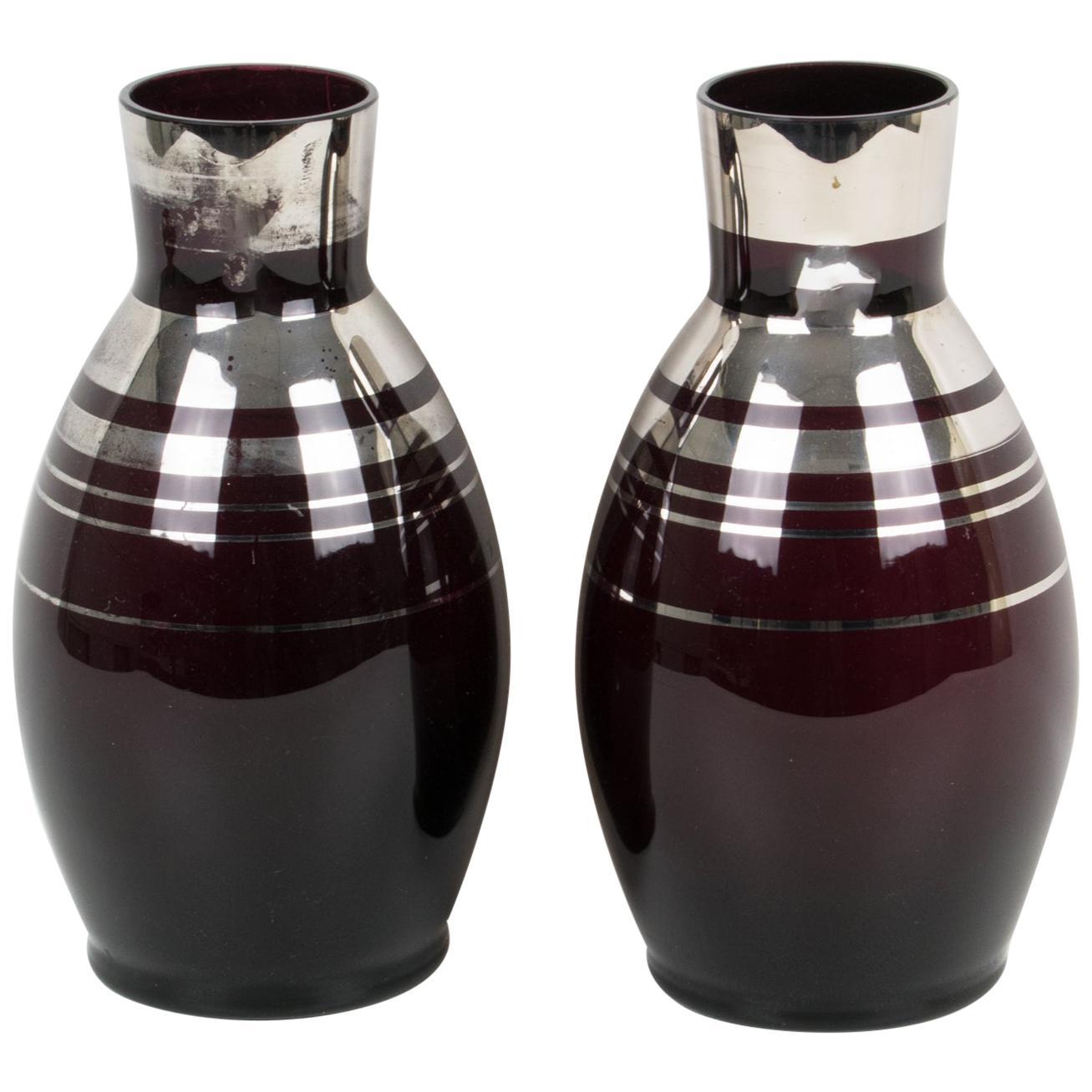 Art Deco 1930s Silver Overlay Black Glass Vase by Fains, a pair
