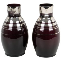 Art Deco 1930s Silver Overlay Black Glass Vase by Fains, a pair