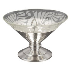 Art Deco 1930s Silver Plate and Etched Glass Centerpiece Bowl