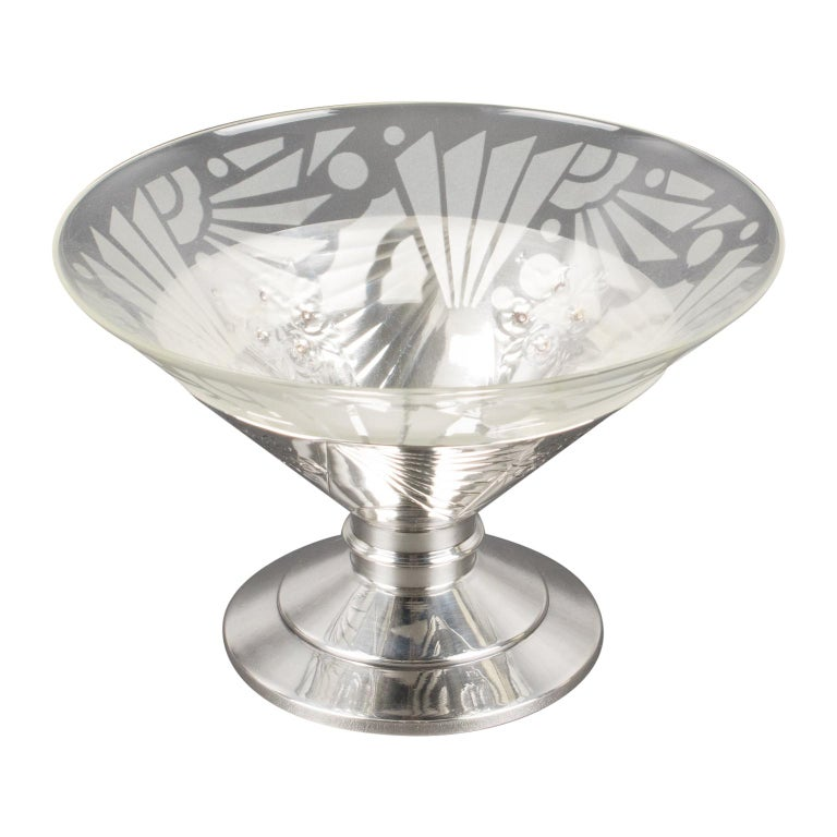 Art Deco 1930s Silver Plate and Etched Glass Centerpiece Bowl For Sale