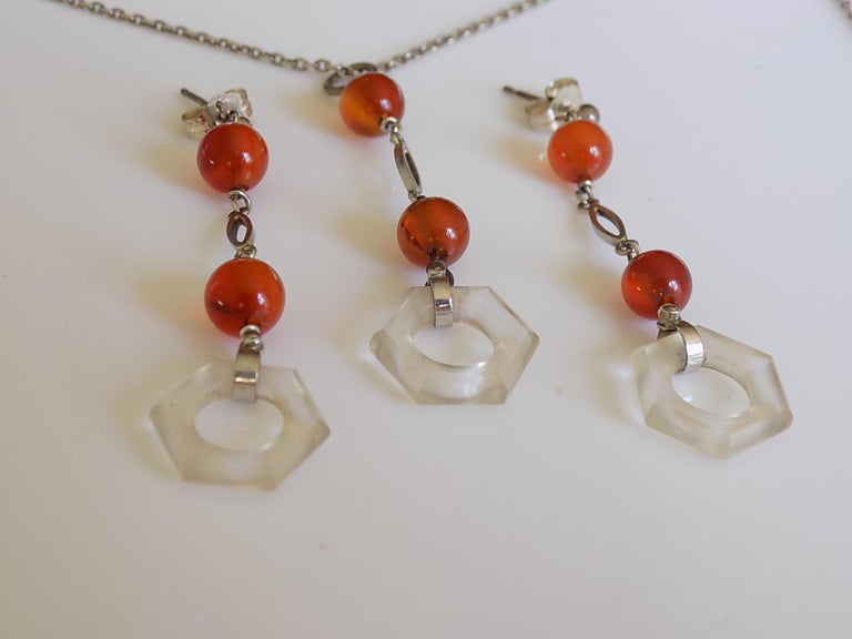 98f34f122b7c9d Art Deco 1930s Sterling Silver Rock Crystal Agate Earrings and Necklace Set  In Good Condition For