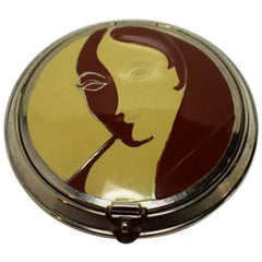 Art Deco 1930s Three Flowers Ladies Compact