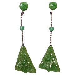 Art Deco 1930s Vintage Green Triangular Drop Earrings