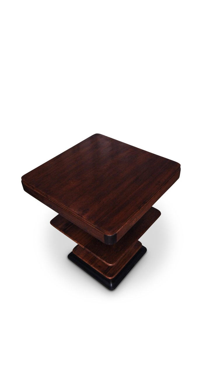 French Art Deco 1930s Walnut and Lacquered Graduated Three-Tier Side Table For Sale