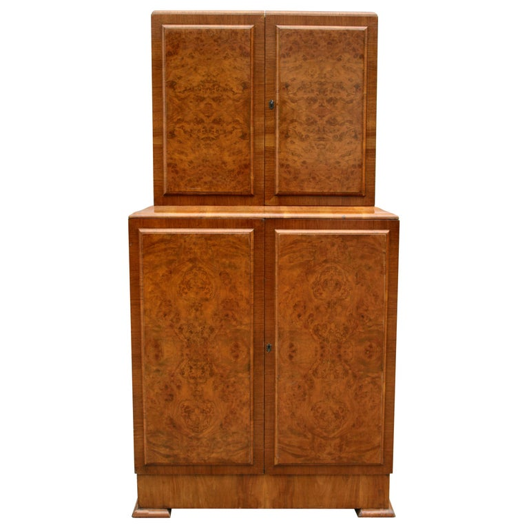 Art Deco 1930s Walnut Fronted Cocktail Drinks Cabinet For Sale