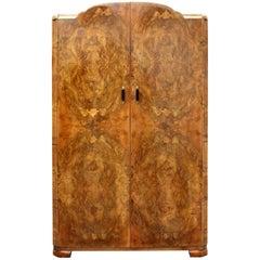Art Deco 1930s Walnut Two-Door Wardrobe, English, circa 1930