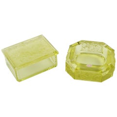 Art Deco 1930s Yellow Vaseline Bohemian Czech Glass Set Ashtray and Box