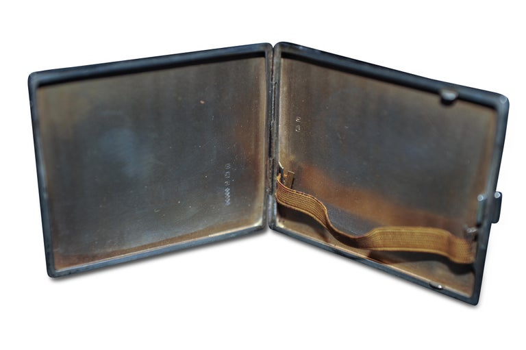 English Art Deco 1931 Sterling Silver Cigarette Case with Monogram by Adie Brothers For Sale