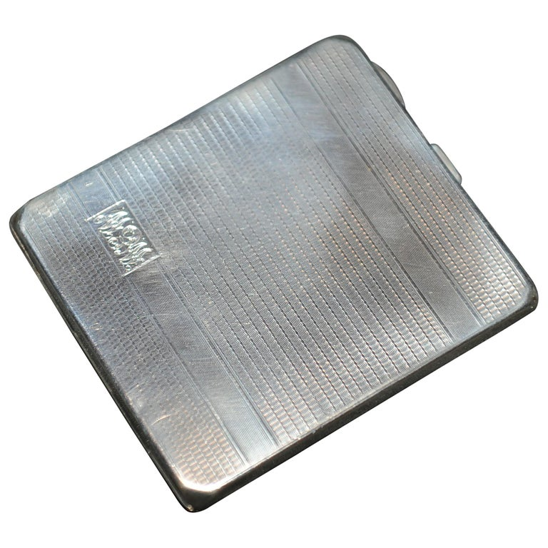 Art Deco 1931 Sterling Silver Cigarette Case with Monogram by Adie Brothers For Sale