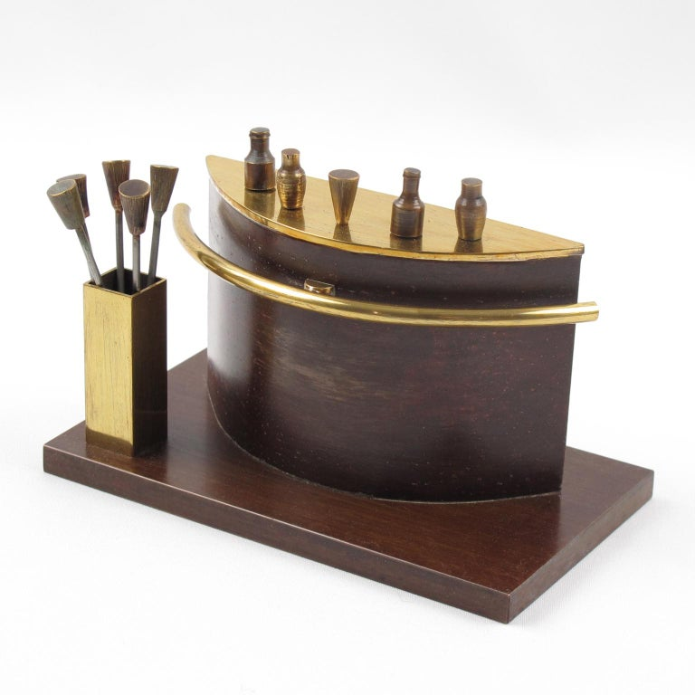 A stunning barware accessory, set of cocktail picks made to be a miniature half round bar. Ten picks with glasses, bottles, and shakers finial can be removed from the bar and the side holder and be used for cocktail picks for Manhattans, Martinis,