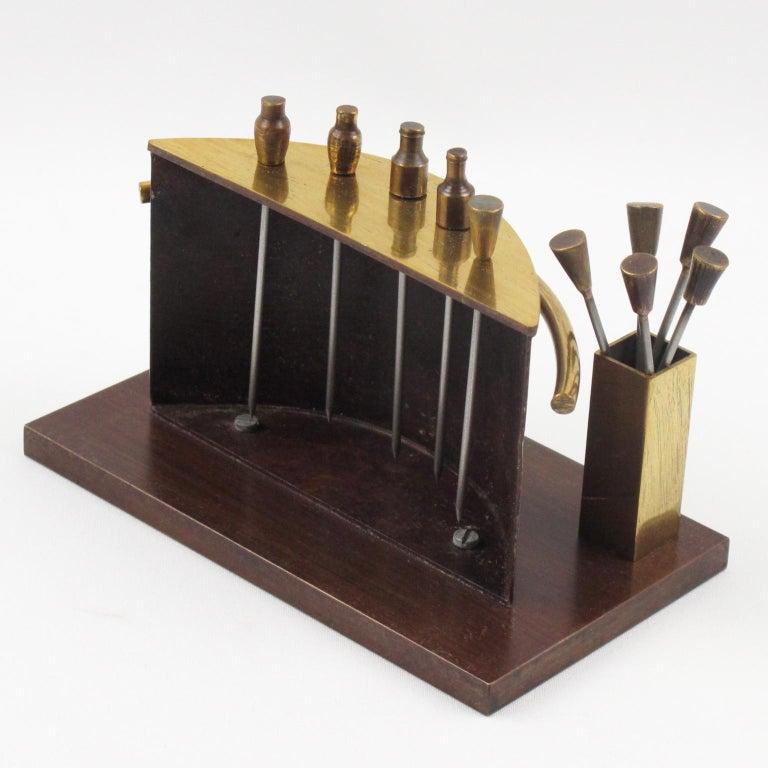 Art Deco 1940s Brass Miniature Bar Cocktail Picks In Excellent Condition In Atlanta, GA