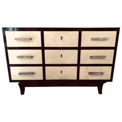 Art Deco 1940s Cream Italian Parchment and Black Lacquer 3 Large Drawer Commode