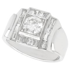 Art Deco 1940s French 1.60 Carat Diamond Cocktail Ring