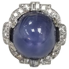 Art Deco 1940's GIA Certified 39.77cts. Blue Star Sapphire and Diamond Ring