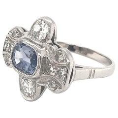 Art Deco 1.95 Carat Ceylon Sapphire Platinum Ring