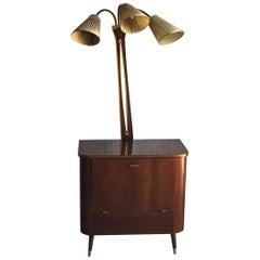 Art Deco 1950s Walnut Drinks Bar Cocktail Liquor Cabinet with Lamp Stand