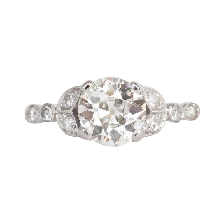 Art Deco 1.97 Carat GIA Old European Cut Diamond Platinum Vintage Solitaire Ring