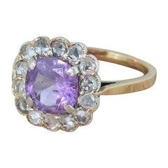 Art Deco 1.97 Carat Purple Sapphire and Rose Cut Diamond Ring