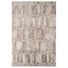 Dyed gray silver Art Deco Customizable Largo Cowhide Area Floor Rug Small