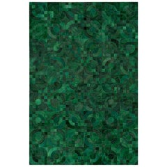 Dark green,  1970s inspired Customizable Optico Cowhide Area Floor Rug Small