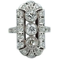 Art Deco 1.98 Carat Diamond Platinum and Gold Ring, circa 1930
