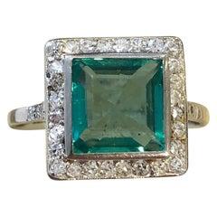 Art Deco 2 Carat Columbian Emerald and Diamond Ring with GCS Certificate