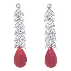 Art Deco 2 Carat Diamond Aka Coral Gold Drop Earrings, 1930s