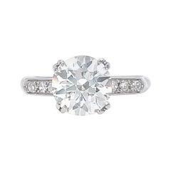 Art Deco 2 Carat Diamond Engagement Ring Platinum