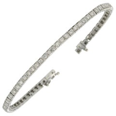 Art Deco 2 Carat Diamond Line Bracelet Tennis Square Link 18 Karat White Gold