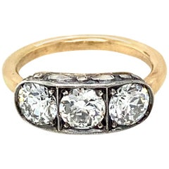 Art Deco 2 Carat Diamond Three-Stone Engraved Ring